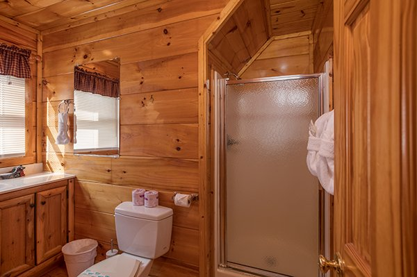Bathroom with a shower stall at Just Relax, a 2 bedroom cabin rental located in Pigeon Forge