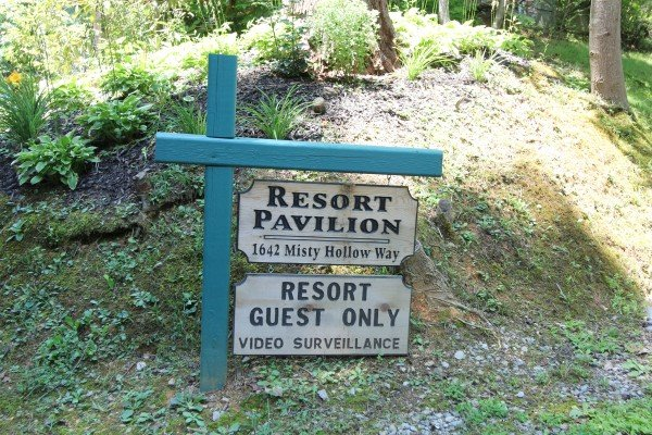 Entrance sign to the resort pavilion for guests of at Precious View, a 1 bedroom cabin rental located in Gatlinburg