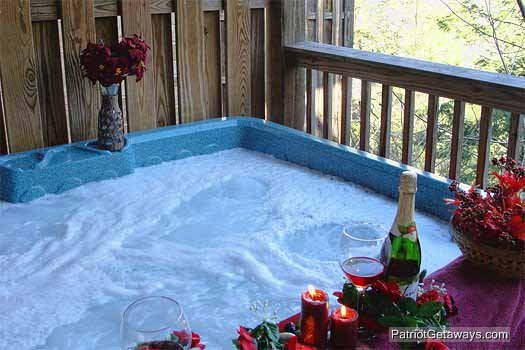 Hot tub at Precious View, a 1 bedroom cabin rental located in Gatlinburg