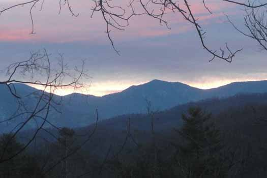 Smoky Mountain sunset at Precious View, a 1 bedroom cabin rental located in Gatlinburg