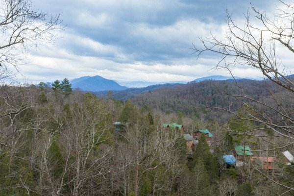 Looking at the Smoky Mountains in winter at Precious View, a 1 bedroom cabin rental located in Gatlinburg