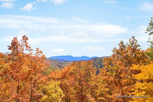 Autumn view of the Smokies at Southern Comfort Inn, a 4 bedroom cabin rental located in Pigeon Forge