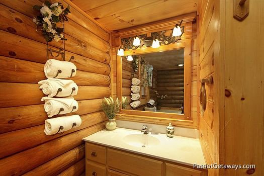 Bathroom vanity at A Lover's Secret a 1 bedroom cabin rental located in Gatlinburg
