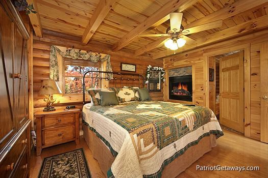 Bedroom with king sized bedroom at A Lover's Secret a 1 bedroom cabin rental located in Gatlinburg