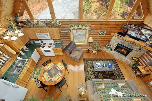 view from the lofted game room at a lover's secret a 1 bedroom cabin rental located in gatlinburg