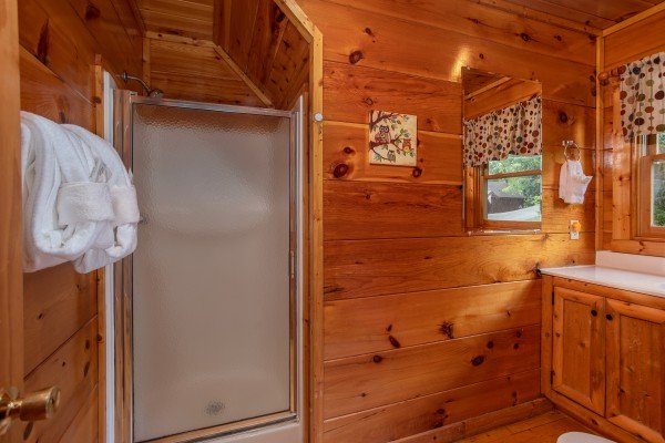 Bathroom with a walk in shower at Mountain Life, a 1 bedroom cabin rental located in Pigeon Forge