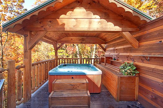 Hot tub on a covered deck at Hidden Pleasure, a 1-bedroom cabin rental located in Gatlinburg