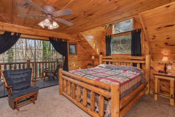 King bedroom in the loft at Hidden Pleasure, a 1-bedroom cabin rental located in Gatlinburg