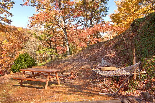 Picnic table and hammock at Hidden Pleasure, a 1-bedroom cabin rental located in Gatlinburg