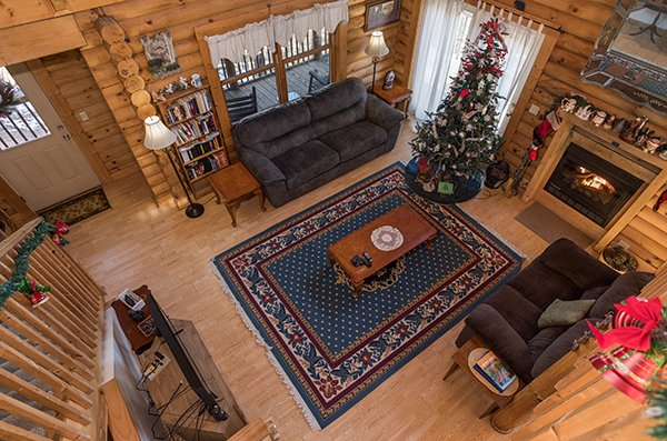 Looking down into the living room at Sierra's Mountain Retreat, a 2 bedroom cabin rental located in Pigeon Forge