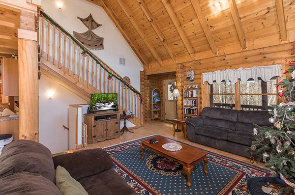 Living room with television at Sierra's Mountain Retreat, a 2 bedroom cabin rental located in Pigeon Forge