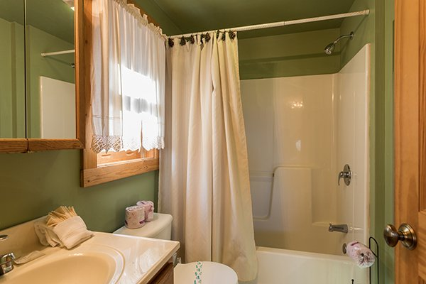 Bathroom with a tub and shower at Sierra's Mountain Retreat, a 2 bedroom cabin rental located in Pigeon Forge