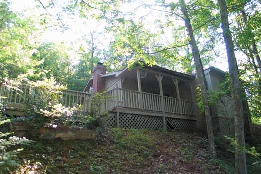 Back side view of deck at Heavenly Hideaway, a 2-bedroom cabin rental located in Gatlinburg