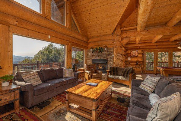 Seating in the living room at Grizzly's Den, a 5 bedroom cabin rental located in Gatlinburg
