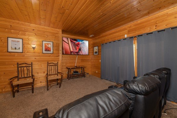 Theater room at Grizzly's Den, a 5 bedroom cabin rental located in Gatlinburg