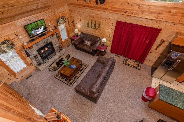 Looking down at the living room at Skyline Retreat, a 2 bedroom cabin rental located in Sevierville