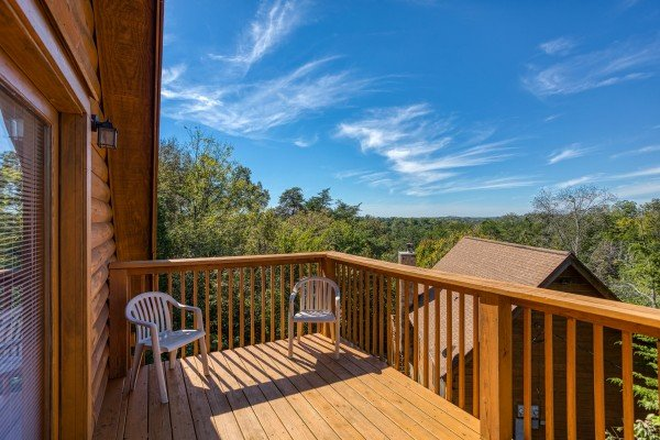 Upper deck at Skyline Retreat, a 2 bedroom cabin rental located in Sevierville