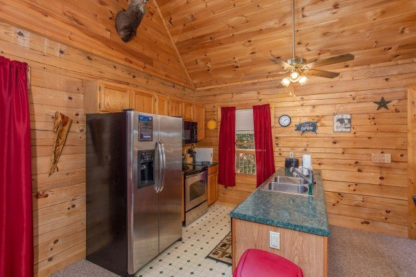 Kitchen with stainless appliances at Skyline Retreat, a 2 bedroom cabin rental located in Sevierville