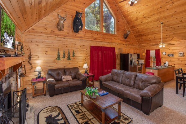 Living room with vaulted ceiling, TV, fireplace at Skyline Retreat, a 2 bedroom cabin rental located in Sevierville