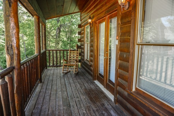 Front porch at Moonlight in the Boondocks, a 2 bedroom cabin rental located in Gatlinburg