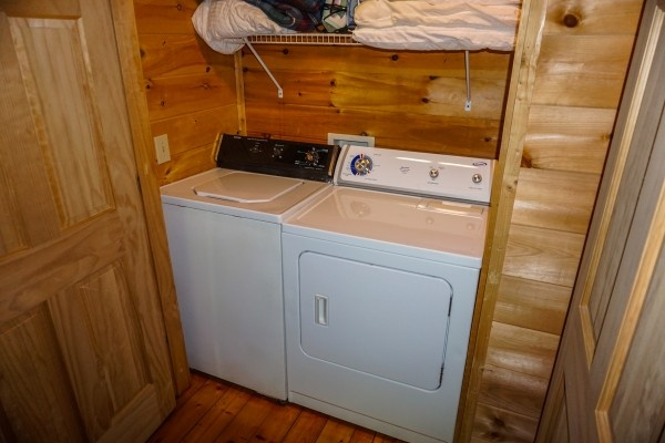 Full sized washer and dryer at Moonlight in the Boondocks, a 2 bedroom cabin rental located in Gatlinburg