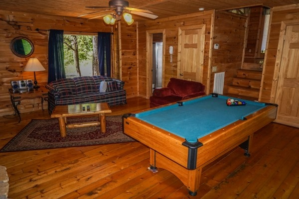 Living room at Moonlight in the Boondocks, a 2 bedroom cabin rental located in Gatlinburg