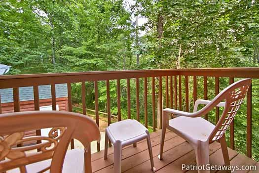 View from deck chairs at A Hidden Treasure, a 2 bedroom cabin rental located in Pigeon Forge