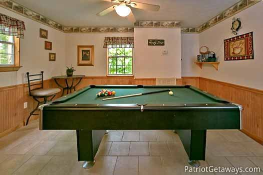 Pool table at A Hidden Treasure, a 2 bedroom cabin rental located in Pigeon Forge