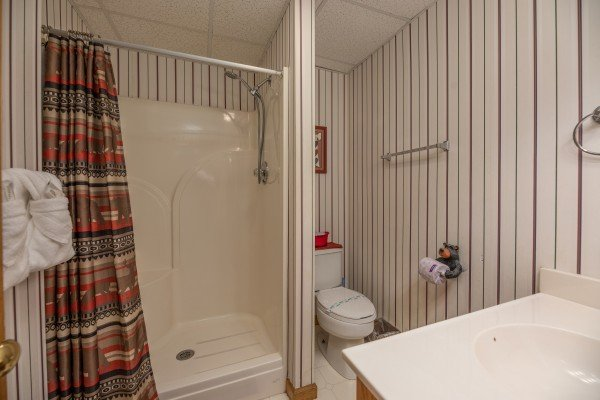 Bathroom with shower at One Blessed Nest, a 3 bedroom cabin rental located in Pigeon Forge