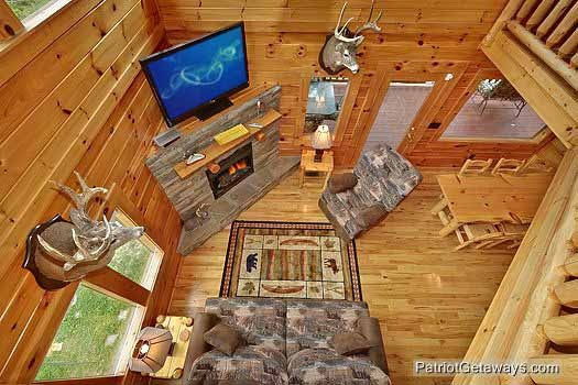 living room overhead view at wilderness lodge a 3 bedroom cabin rental located in pigeon forge