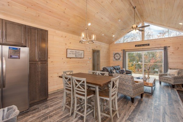 Dining table for six Winter at Sugar Bear, a 3 bedroom cabin rental located in Pigeon Forge