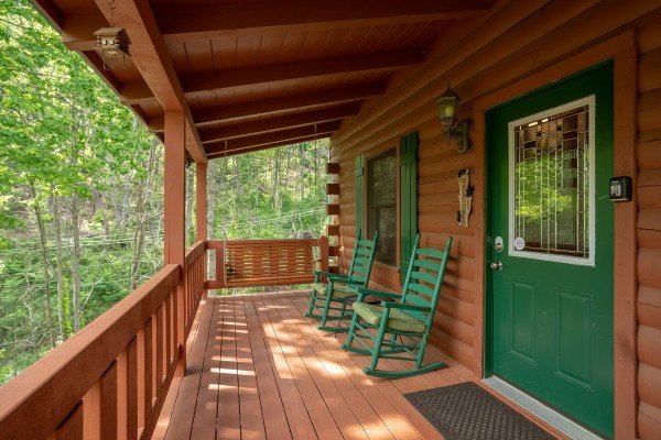 Front porch at Mountain Breeze, a 1 bedroom cabin rental located in Pigeon Forge