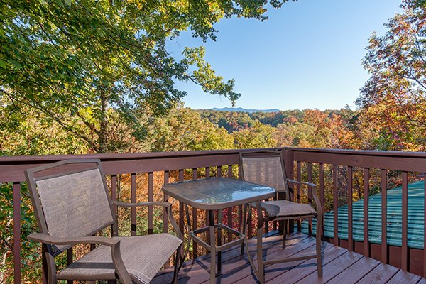 Deck dining for two with Mt. LeConte views at Hawk's Nest, a 1-bedroom cabin rental located in Pigeon Forge
