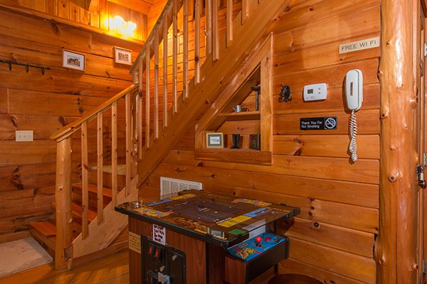 Arcade table at Hawk's Nest, a 1-bedroom cabin rental located in Pigeon Forge