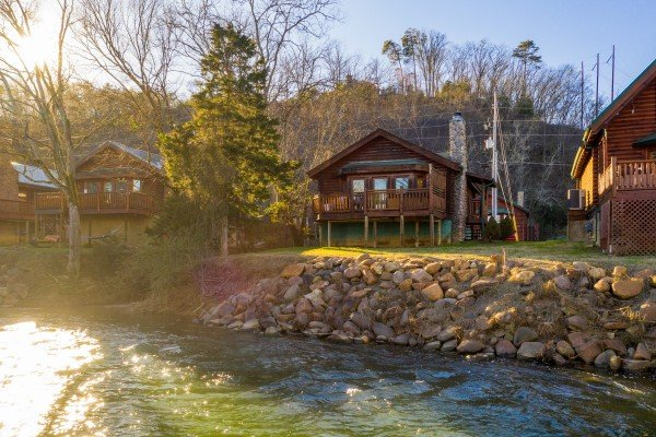 Looking at the cabin at Gone Fishin', a 2-bedroom cabin rental located in Pigeon Forge
