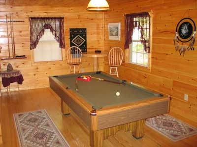 pool table behind sofa in living room of dream catcher a 1 bedroom cabin rental located in pigeon forge