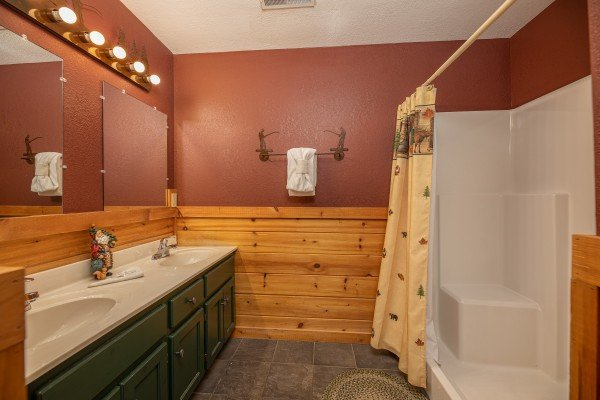 Bathroom with a large shower at Cold Creek Camp, a 3 bedroom cabin rental located in Pigeon Forge