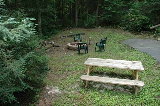 outdoor living area with picnic and firepit area at a great escape a 1 bedroom cabin rental located in pigeon forge