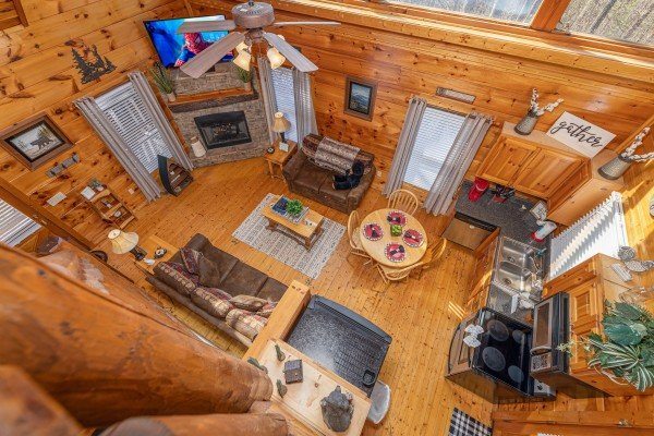 Looking down at the main floor at Honey Bear Haven, a 1 bedroom cabin rental located in Pigeon Forge