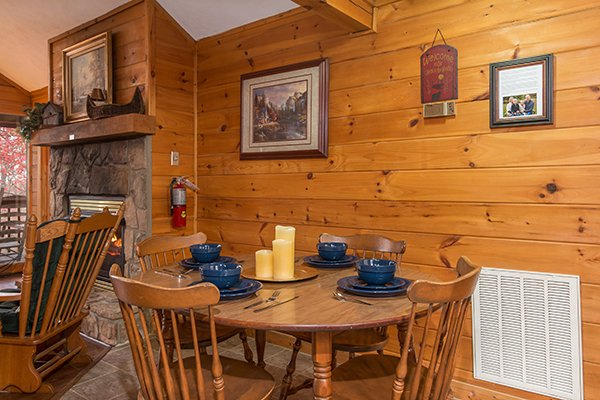 Dining table for four at Mountain Garden, a 2 bedroom cabin rental located in Gatlinburg