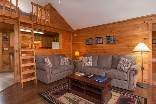 Living room with sleeper sofa and loveseat at Mountain Garden, a 2 bedroom cabin rental located in Gatlinburg