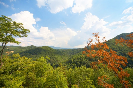 View of the smokey mountains seen from A Perfect Getaway, a 3 bedroom cabin rental located in Pigeon Forge