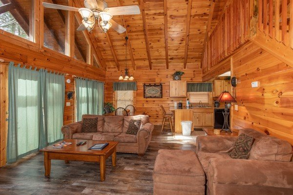 Living room, dining space, and kitchen on the main floor at Blackberry Delite, a 1-bedroom cabin rental located in Pigeon Forge