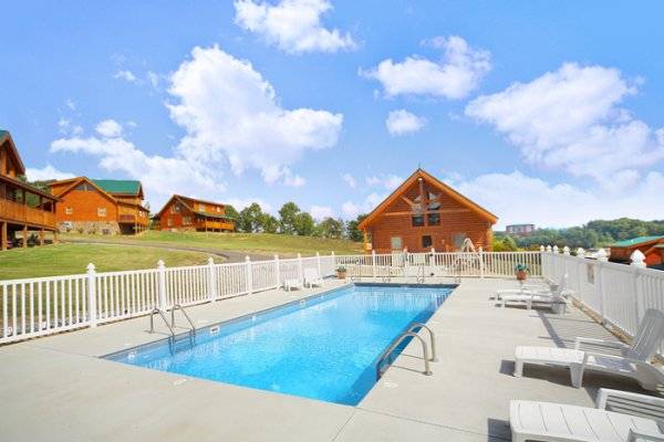 Resort shared pool at Blackberry Delite, a 1-bedroom cabin rental located in Pigeon Forge
