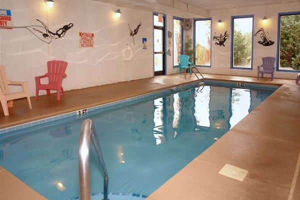 Indoor pool access for guests at Mountain Escape, a 2 bedroom cabin rental located in Pigeon Forge
