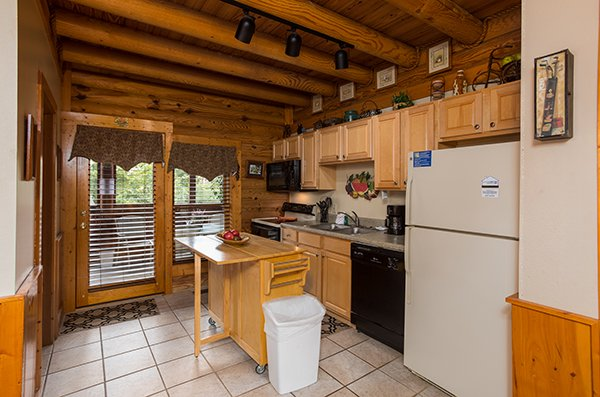 Fully equipped kitchen at Mountain Escape, a 2 bedroom cabin rental located in Pigeon Forge