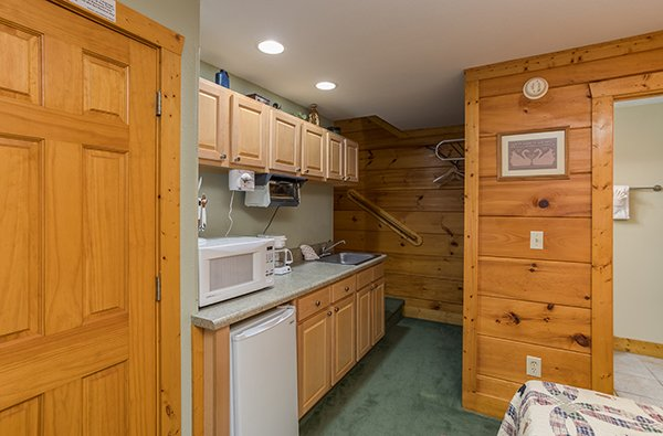 Kitchenette on the lower level at Mountain Escape, a 2 bedroom cabin rental located in Pigeon Forge