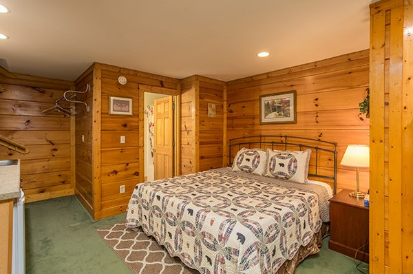 Bedroom with king bed at Mountain Escape, a 2 bedroom cabin rental located in Pigeon Forge