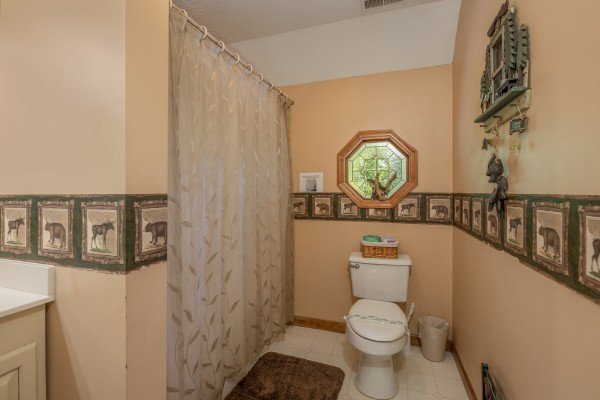 Bathroom in the loft space at Amazing Memories, a 3 bedroom cabin rental located in Pigeon Forge