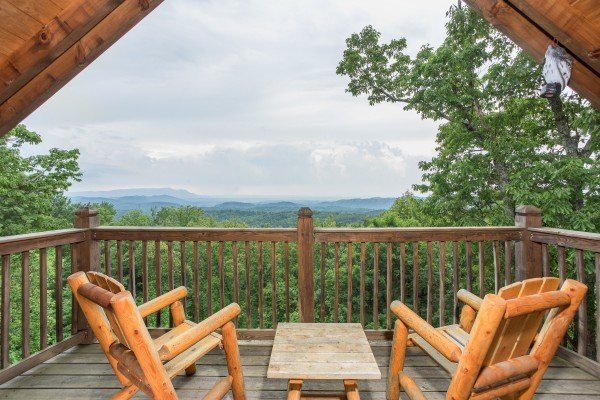 Looking at the mountains from the loft deck at Serenity Heights, a 3 bedroom cabin rental located in Pigeon Forge